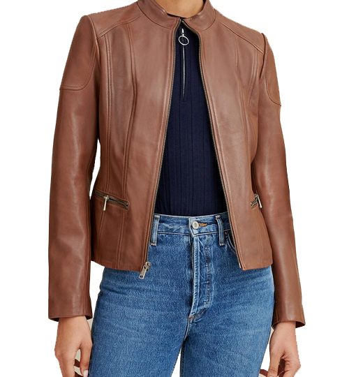 Caitlin Scuba Leather Jacket