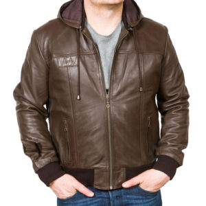 Men's Brown Hooded Leather Bomber Jacket