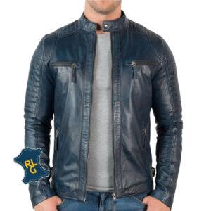 Mens Blue Leather Biker Jacket