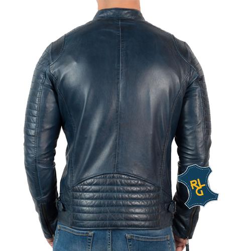 Mens Blue Leather Biker Jacket_02