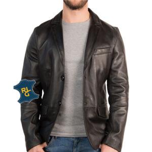 Men's Slim Fit 2 Button Leather Blazer