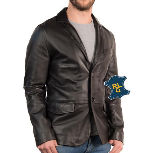 Men's Slim Fit 2 Button Leather Blazer_02