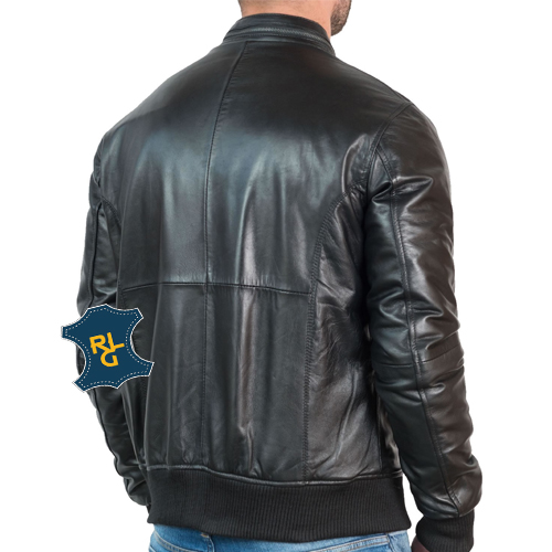 Men's Black Leather Bomber Jacket_02