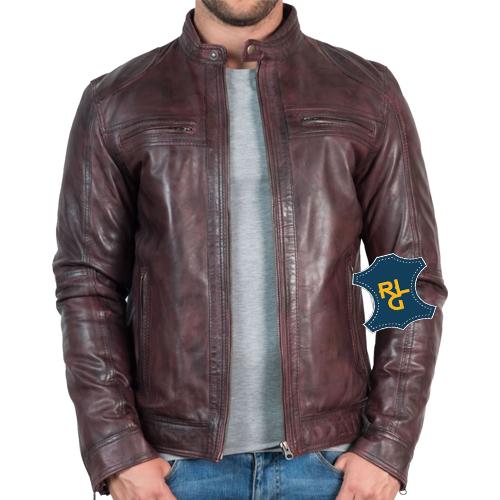 Mens Vintage Bordeaux Leather Jacket