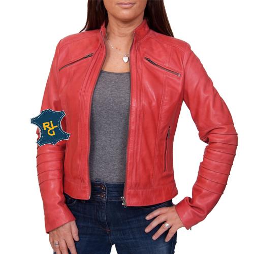 Ladies Red Leather Biker Jacket