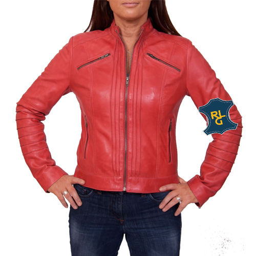 Red Leather Biker Jacket for women