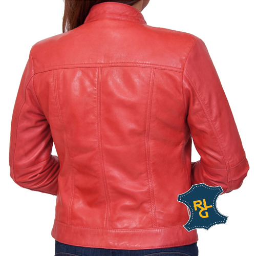 women's leather red jacket in UK