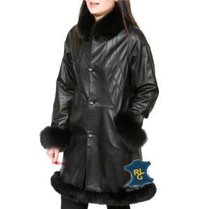 Ladies Black Leather Swing Coat