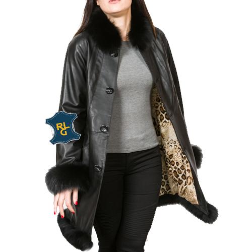 Ladies Black Leather Swing Coat_02