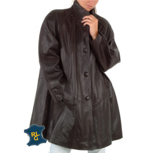 Women's Leather Swing Coat