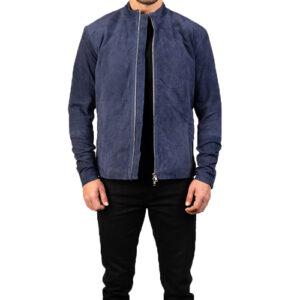 Charcoal Navy Blue Suede Jacket