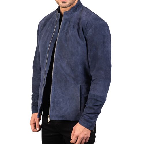 Charcoal Navy Blue Suede Jacket_02