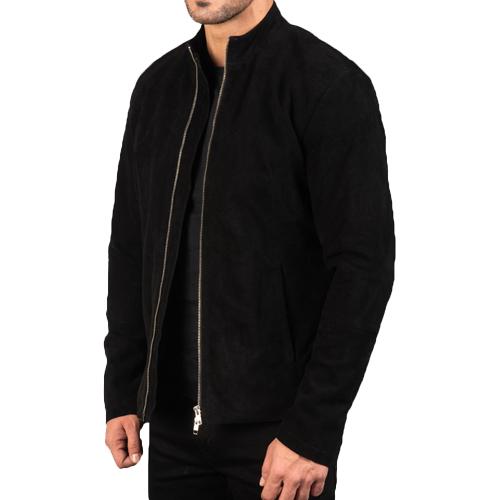 Charcoal Black Suede Biker Jacket_02